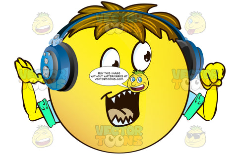 Pointed Teeth Yellow Smiley Face Emoticon With Arms, Brown Hair And Headphones