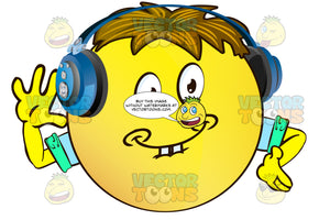 Goofy, Childish, Buck Tooth Yellow Smiley Face Emoticon With Arms, Brown Hair And Headphones