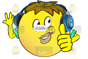 Full Lips Yellow Smiley Face Emoticon With Arms, Brown Hair And Headphones, Pretty, Looking Right
