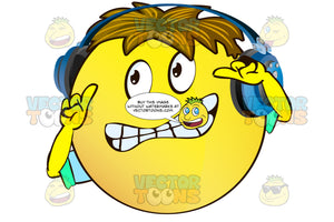 Stressed Looking Yellow Smiley Face Emoticon With Arms, Brown Hair And Headphones Gritting Teeth Arms Raised, Index Fingers Up