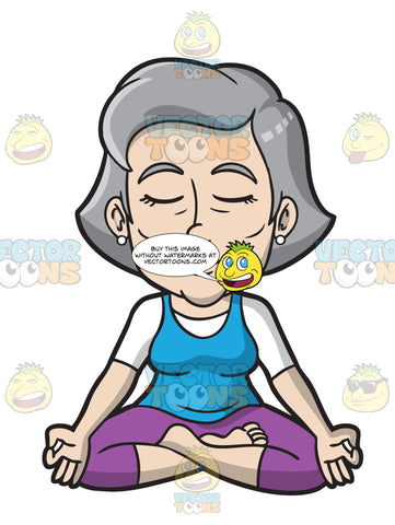 A Mature Woman Sitting In Lotus Yoga Pose