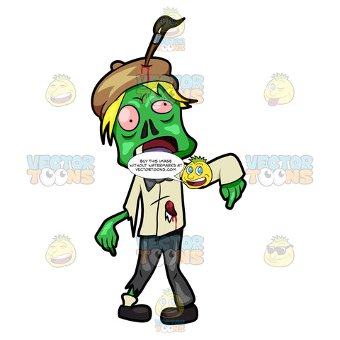 A Zombie Painter Wearing A Bow Tie And A Hat
