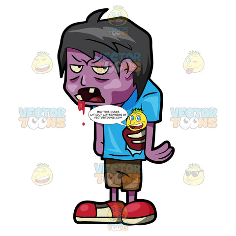 A Teenage Zombie Drooling With Blood