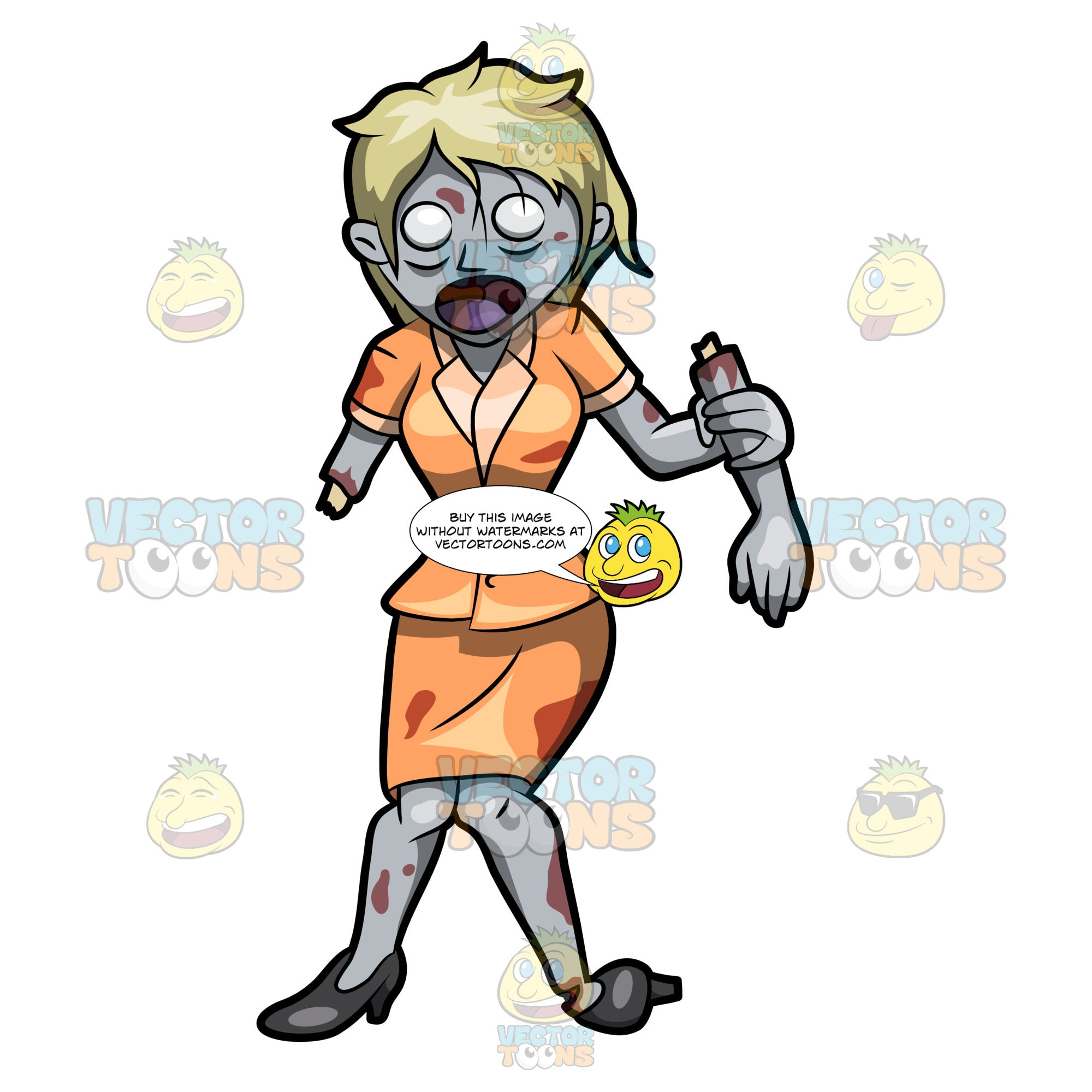 A Lady Zombie Holding Her Removed Arm