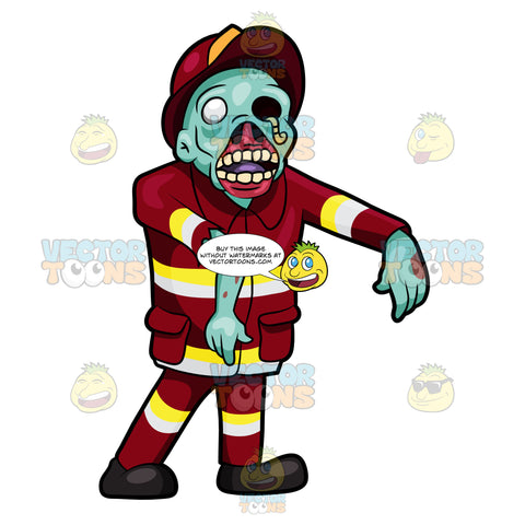 A Creepy Looking Fireman Zombie