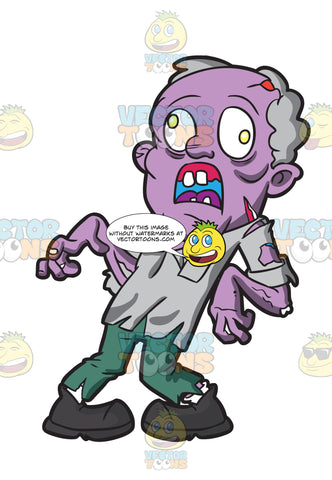 An Old Zombie With Dislocated Feet And Arms