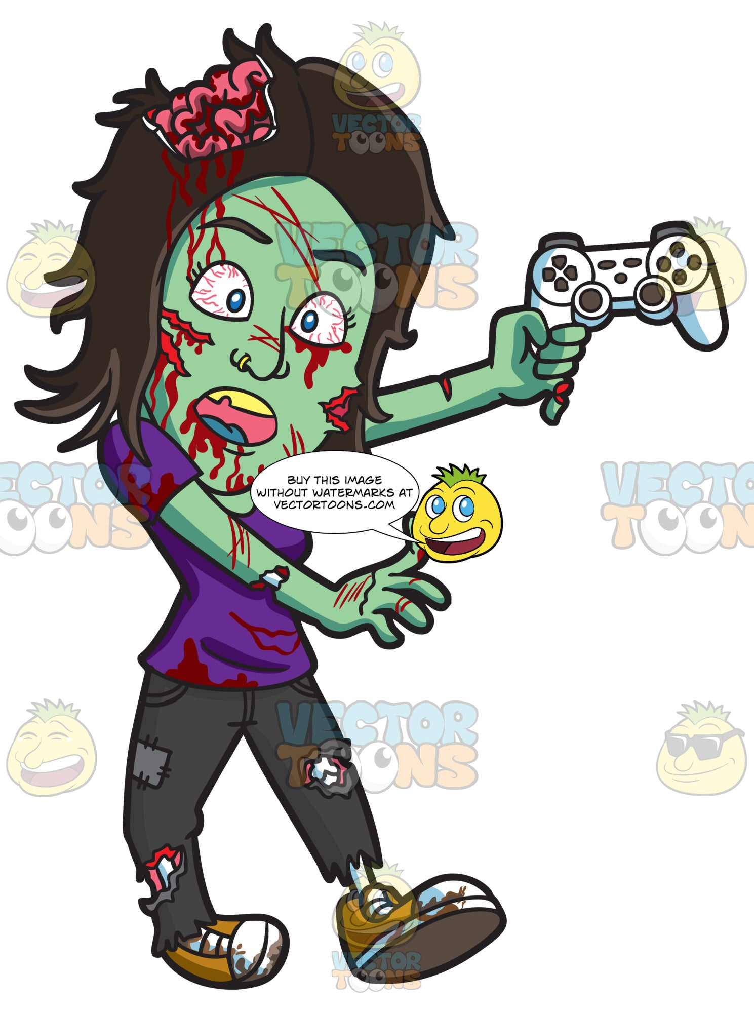 A Zombie Playing A Video Game