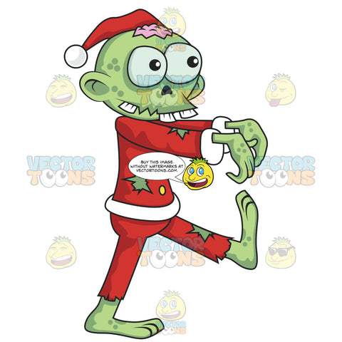 Santa Zombie With Green Skin And Holes In His Clothing