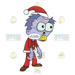 Zombie Santa With Purple Skin And Part Of Its Head Missing