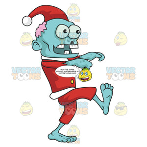 Zombie Santa With Blue Skin And Brain Exposed