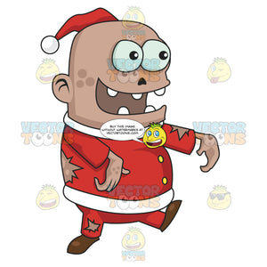 Big Head Zombie Santa With Gaps Between Teeth