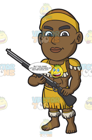 A Zulu Warrior With A Shotgun
