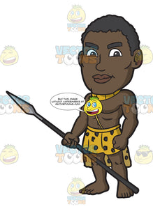 A Muscular Zulu Warrior Holding A Spear