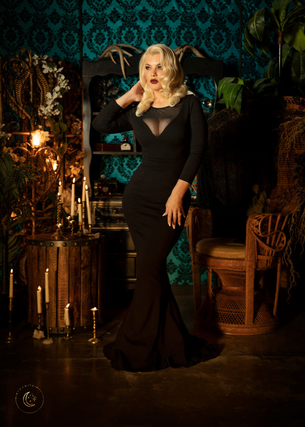 Theodora Gown in Black Ponte de Roma | Deadly Dames Clothing