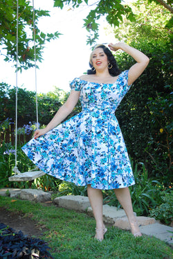 Pinup Couture Gathered Circle Skirt in Blue Floral Print