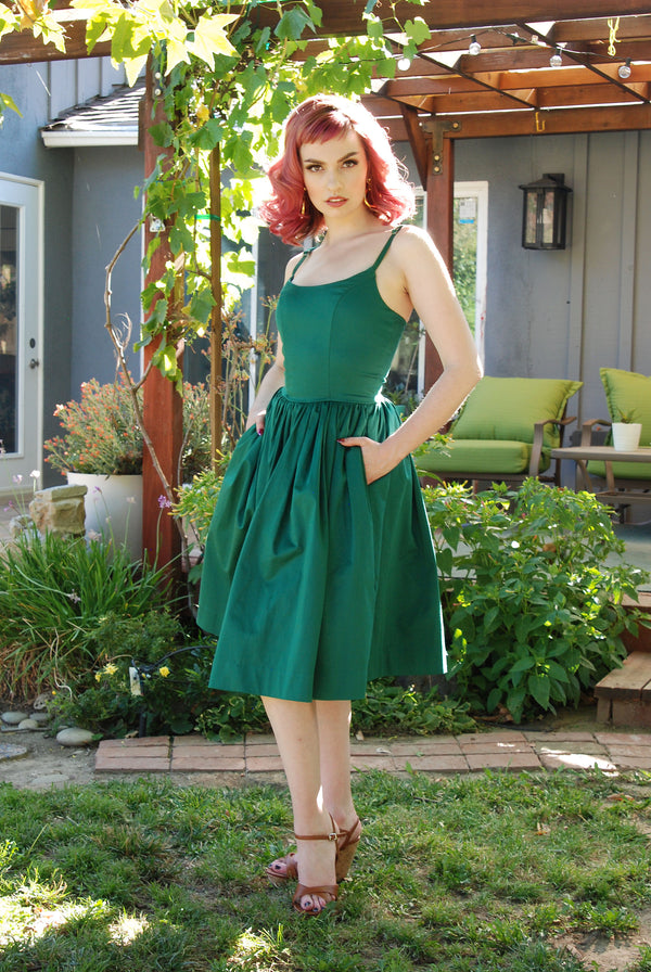 Pinup Style Sundress  - Jenny Swing Dress in Emerald Green | Pinup Couture