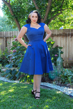 Vintage Style Pinup Heidi A-Line Dress in Solid Blue | Pinup Couture