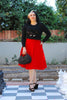 Doris Vintage Swing Skirt with Pockets in Red |  Pinup Couture