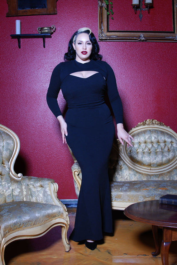 Traci Maxi Dress in Black Stretch Crepe with Removable Shrug by Traci Lords