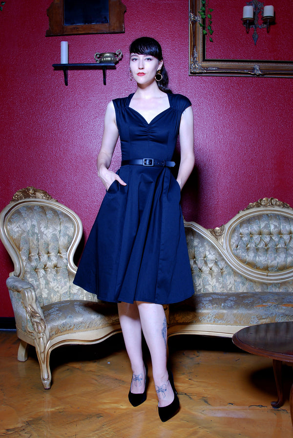 Heidi Vintage A-Line Dress in Solid Black Cotton Sateen | Pinup Couture