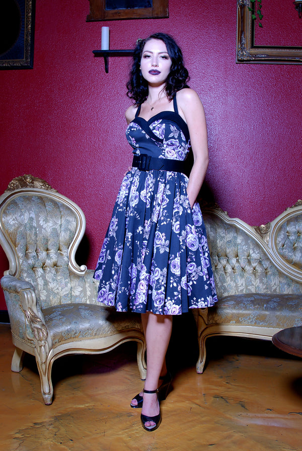 The Stephanie Swing Dress in Vintage Pastel Purple Floral | Pinup Couture