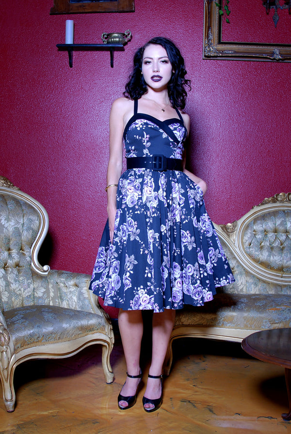 Pre Order - The Stephanie Swing Dress in Vintage Pastel Purple Floral | Pinup Couture