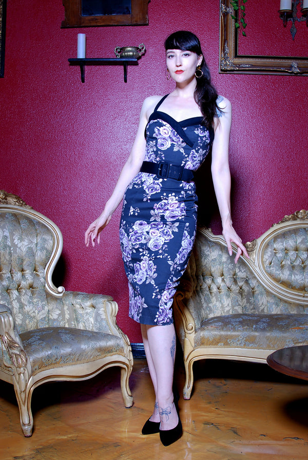 Pre Order - The Stephanie Wiggle Dress in Purple Pastel Floral | Pinup Couture