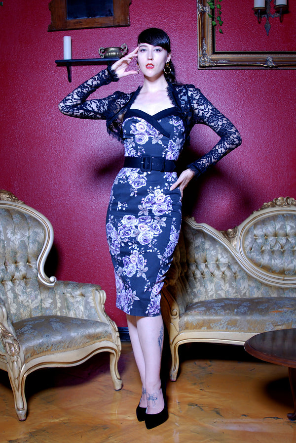 The Stephanie Wiggle Dress in Purple Pastel Floral | Pinup Couture