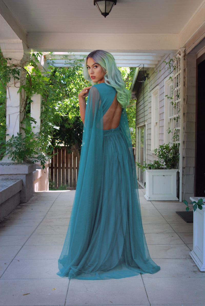 Gothic Glamour - Bombshell Plunge Maxi Gown in Peacock Green with Sheer Mesh Sleeves