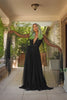 Gothic Glamour Bombshell Gown in Black with Floor Length Sheer Cape Sleeves