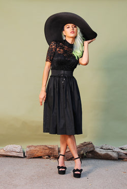 Petite Bella Vintage Gathered Skirt in Black Sateen | Pinup Couture