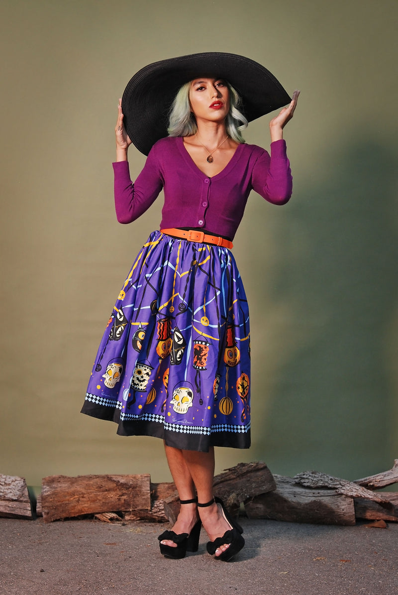 Vintage Inspired Fitted 3/4 Sleeve Cropped Cardigan in Purple | Pinup Girl Clothing