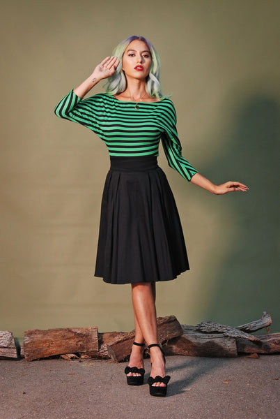 The Little Jun Vintage Inspired Pleated Skirt in Solid Black | Laura Byrnes Design