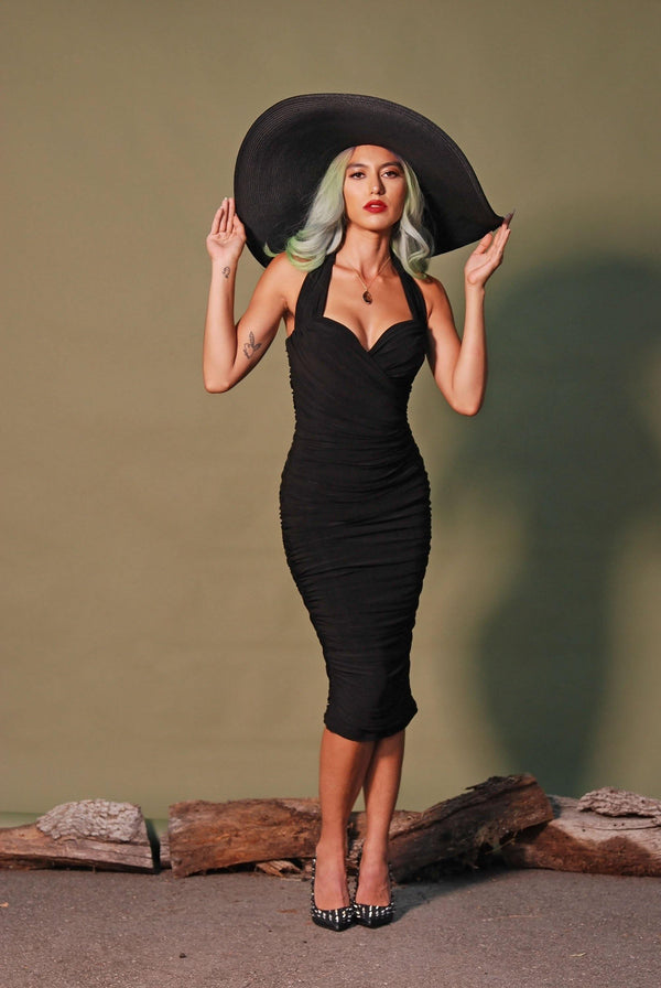 Traci Gathered Halter Wiggle Dress in Black by Traci Lords