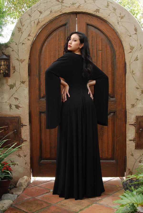 Gothic Glamour Gown in Black Jersey with High Double Slit