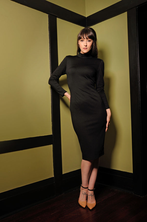 Jackie  60's Wiggle Dress in Black | Laura Byrnes Design