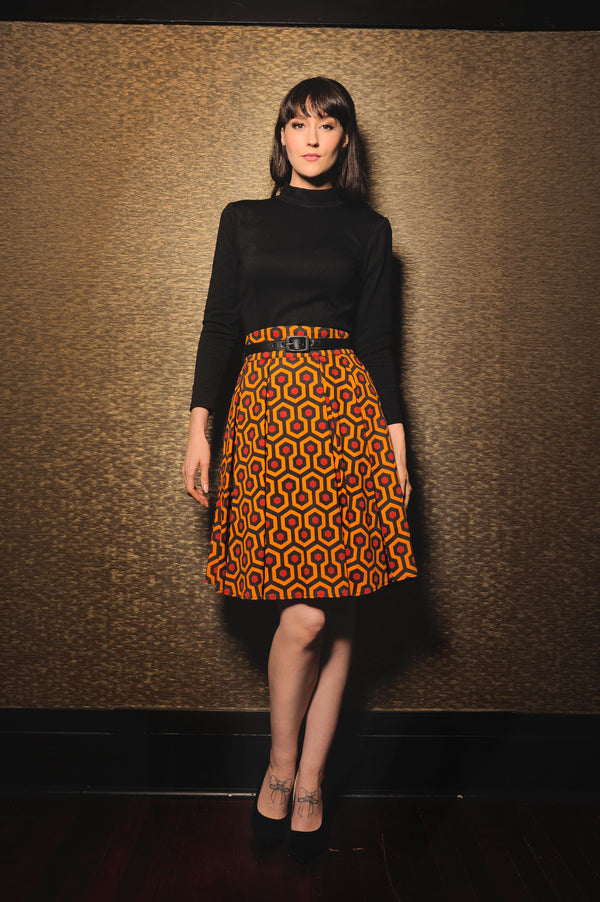 The Little Jun Pleated Skirt in Hotel Hexagon Print | Laura Byrnes Design