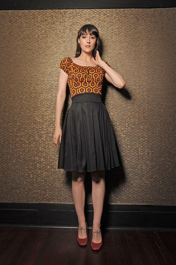 Gathered Peasant Top in Hotel Hexagon Print | Pinup Couture