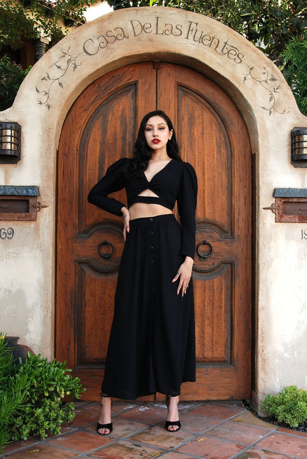 Selene Button Front Midi Skirt in Black Stretch Crepe | Laura Byrnes & Hope Morrison