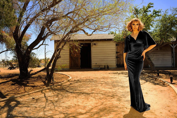 Valeria Maxi Gown in Black Stretch Velvet | Laura Byrnes Design