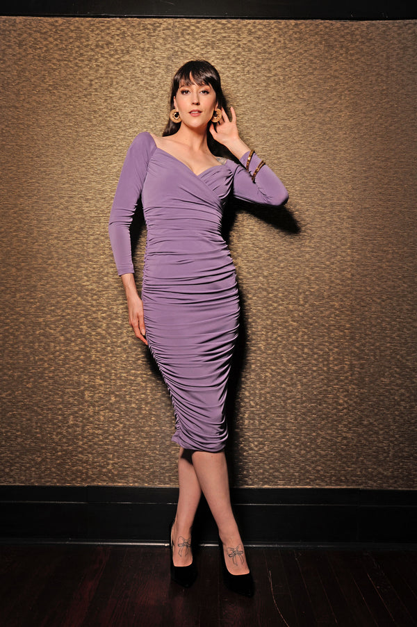 The Monica Wiggle Dress in Lavender by Laura Byrnes Design