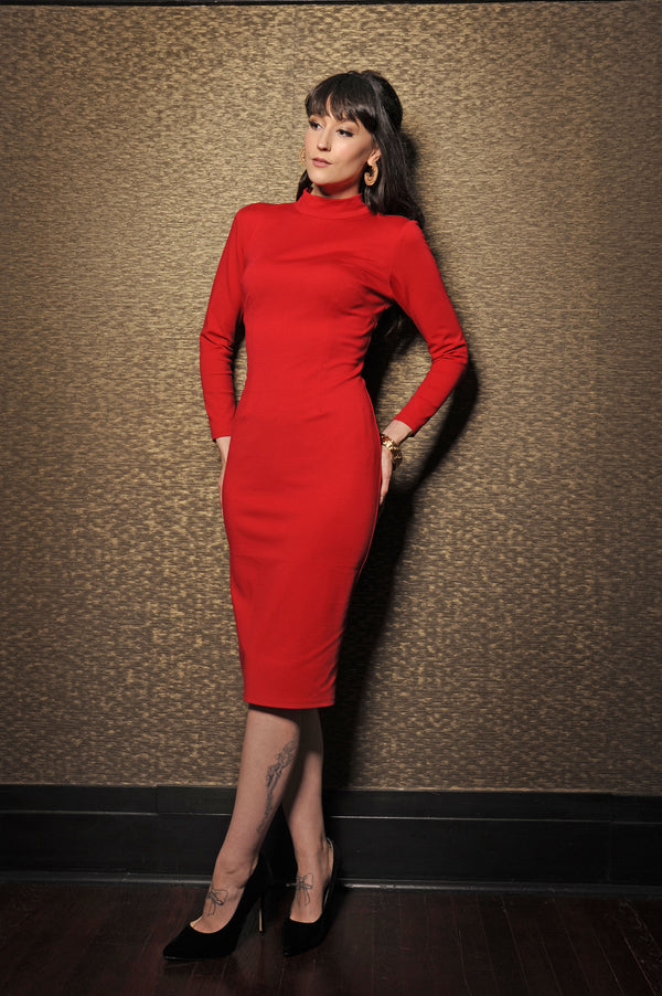 Jackie Mock Neck Wiggle Dress in Red | Laura Byrnes Design