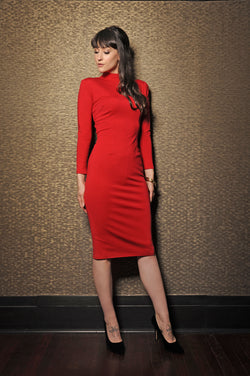 Jackie 60's wiggle dress in red by laura byrnes