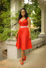 Pinup Couture Vintage A-Line Heidi Dress in Red with belt