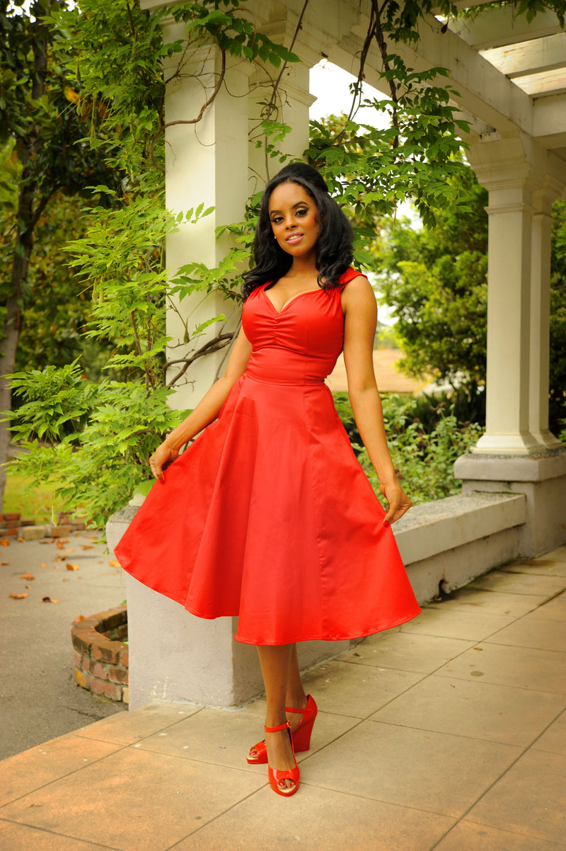 Pinup Couture Vintage A-Line Heidi Dress in Red