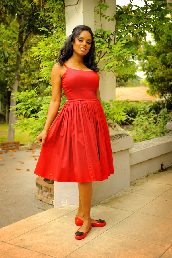 Vintage Sundress  - Jenny Swing Dress in Solid Red | Pinup Couture