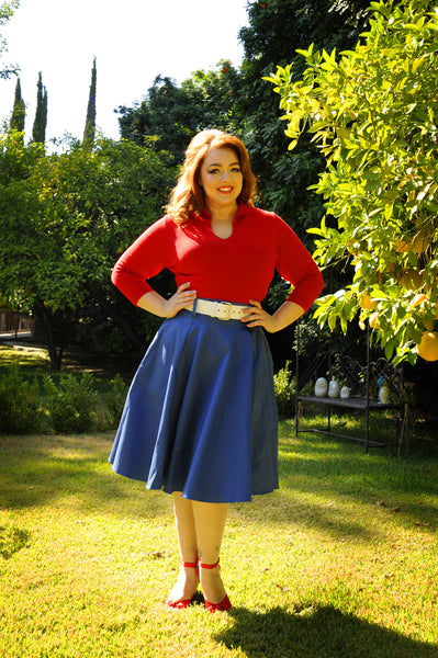 Doris Vintage Swing Skirt in Blue with Pockets