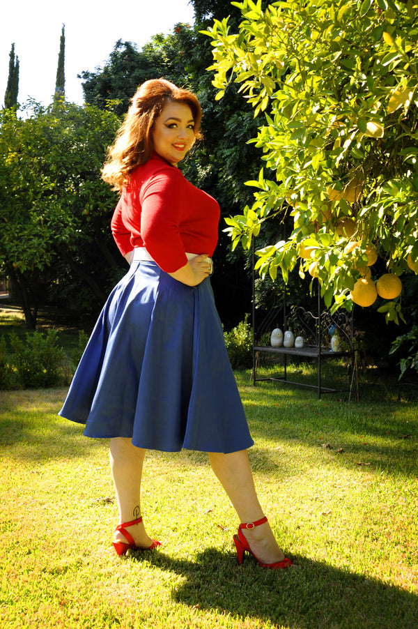 Doris Vintage Swing Skirt in Blue with Pockets back view