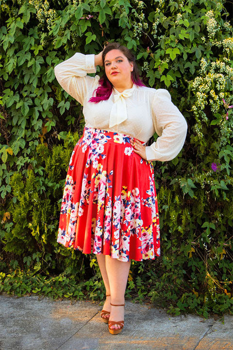 Doris Vintage Swing Skirt in Coral Floral Cotton Sateen | Pinup Couture