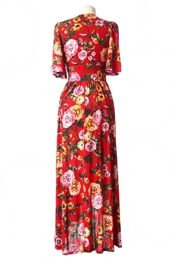 Katy Dress in Red Floral Cotton Knit | Pinup Couture